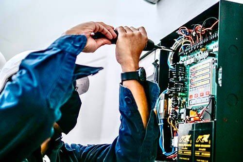 Inspect the fire alarm system control cabinet