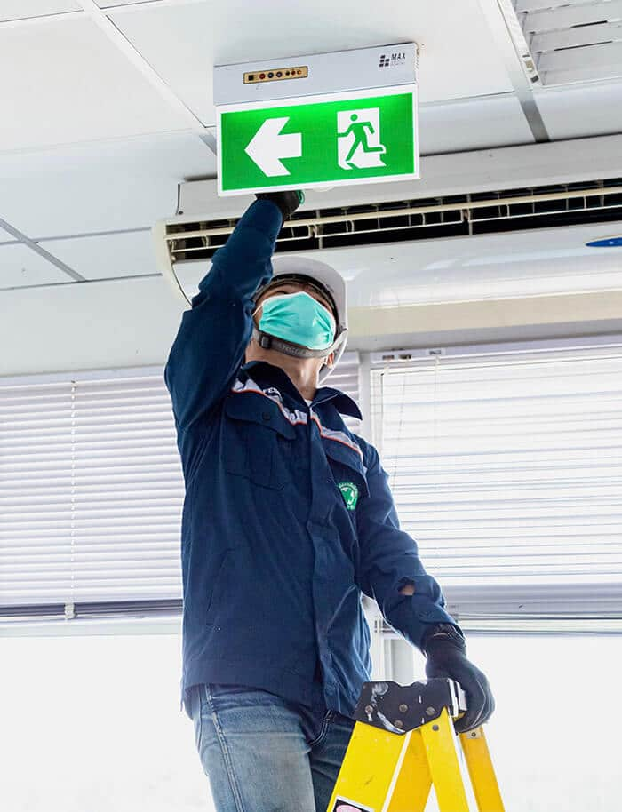 Clean up the emergency exit sign